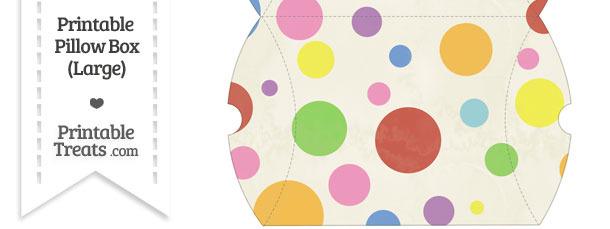 Large Vintage Rainbow Dots Pillow Box