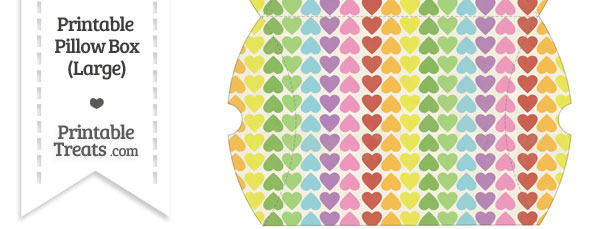 Large Vintage Rainbow Hearts Pillow Box