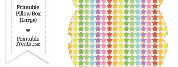 Large Vintage Rainbow Stars Pillow Box