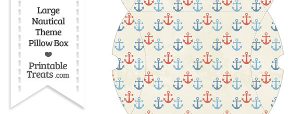 Large Vintage Red and Blue Anchors Pillow Box