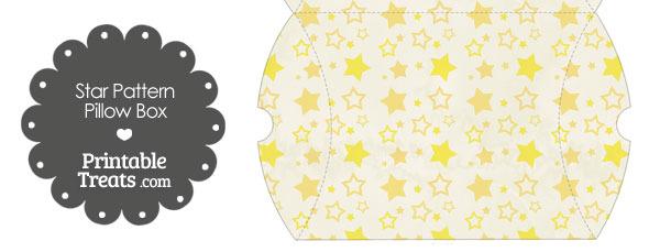 Large Vintage Yellow Star Pattern Pillow Box