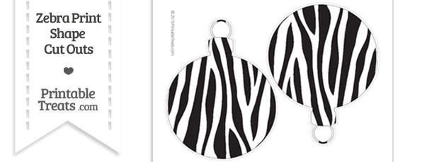 Large Zebra Print Christmas Ornament Cut Outs
