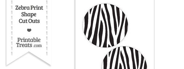 Large Zebra Print Circle Cut Outs