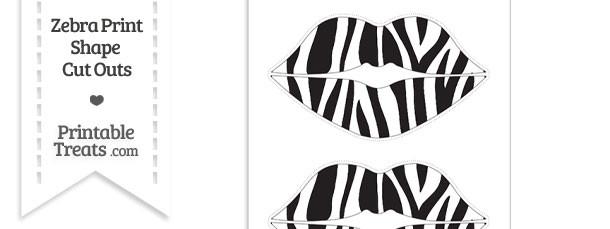 Large Zebra Print Lips Cut Outs