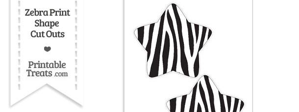 Large Zebra Print Star Cut Out