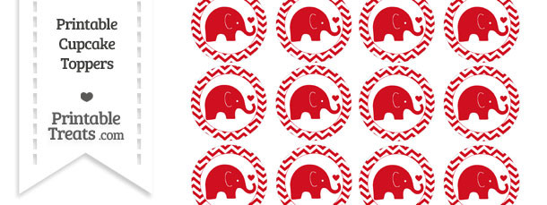 Lava Red Baby Elephant Chevron Cupcake Toppers