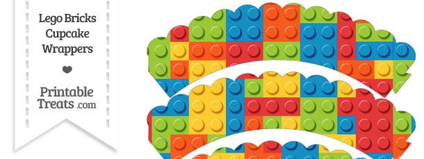 Lego Bricks Scalloped Cupcake Wrappers