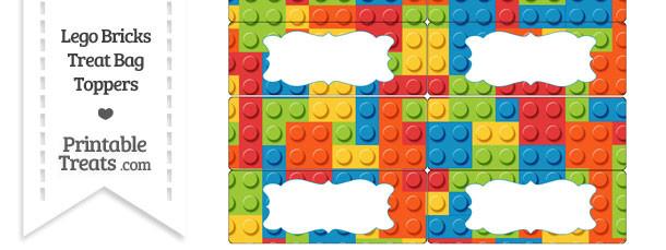 Lego Bricks Treat Bag Toppers