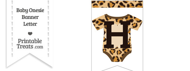 Leopard Print Baby Onesie Bunting Banner Letter H
