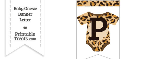 Leopard Print Baby Onesie Bunting Banner Letter P