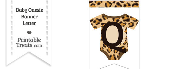 Leopard Print Baby Onesie Bunting Banner Letter Q