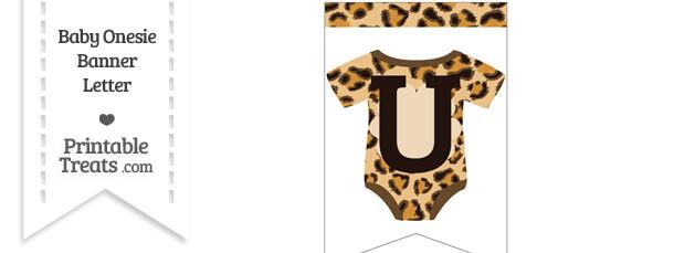 Leopard Print Baby Onesie Bunting Banner Letter U