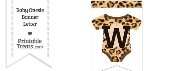 Leopard Print Baby Onesie Bunting Banner Letter W