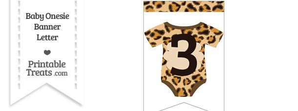 Leopard Print Baby Onesie Bunting Banner Number 3