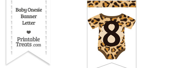 Leopard Print Baby Onesie Bunting Banner Number 8