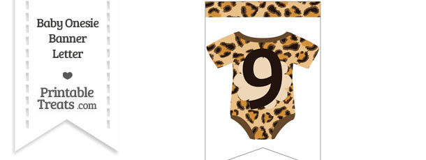 Leopard Print Baby Onesie Bunting Banner Number 9