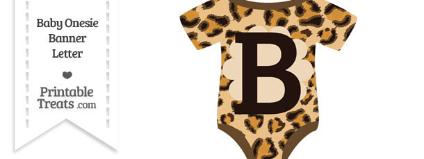 Leopard Print Baby Onesie Shaped Banner Letter B