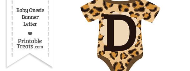 Leopard Print Baby Onesie Shaped Banner Letter D