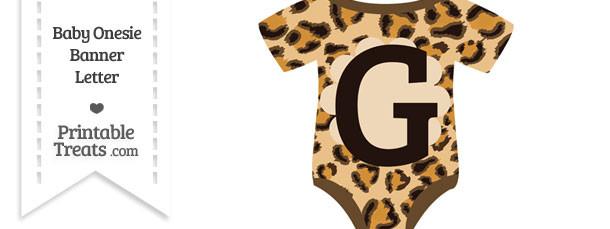 Leopard Print Baby Onesie Shaped Banner Letter G