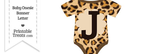 Leopard Print Baby Onesie Shaped Banner Letter J