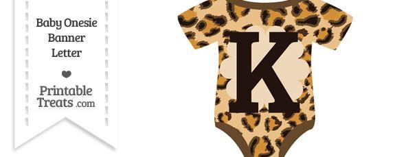Leopard Print Baby Onesie Shaped Banner Letter K