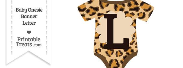 Leopard Print Baby Onesie Shaped Banner Letter L