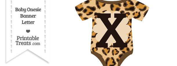 Leopard Print Baby Onesie Shaped Banner Letter X