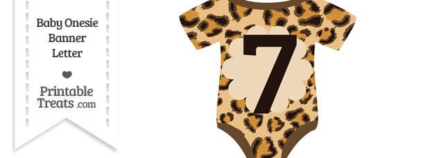 Leopard Print Baby Onesie Shaped Banner Number 7