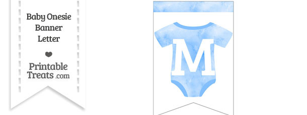 Light Blue Watercolor Baby Onesie Bunting Banner Letter M