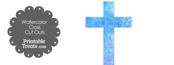 Light Blue Watercolor Cross Cut Outs