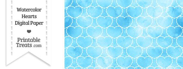 Light Blue Watercolor Hearts Digital Scrapbook Paper