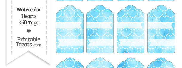 Light Blue Watercolor Hearts Gift Tags