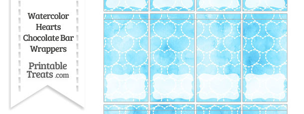 Light Blue Watercolor Hearts Mini Chocolate Bar Wrappers