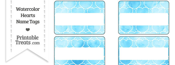 Light Blue Watercolor Hearts Name Tags