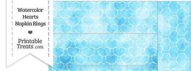 Light Blue Watercolor Hearts Napkin Rings