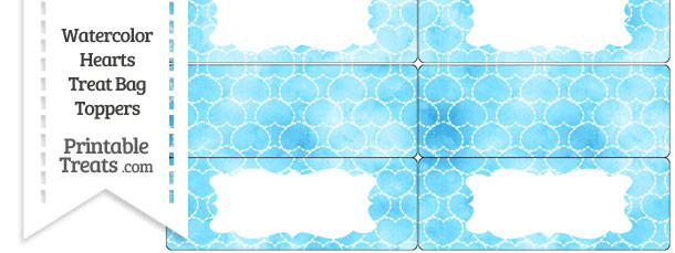 Light Blue Watercolor Hearts Treat Bag Toppers