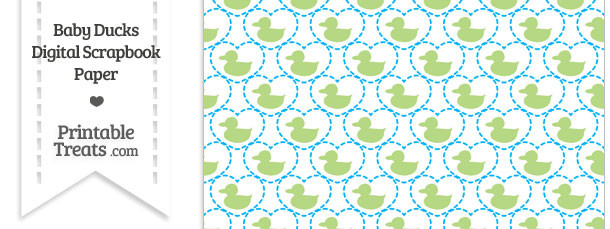 Light Green Baby Ducks Digital Scrapbook Paper