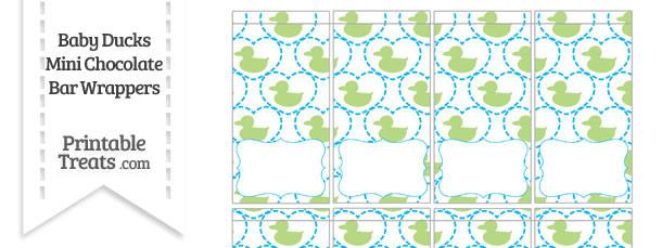 Light Green Baby Ducks Mini Chocolate Bar Wrappers