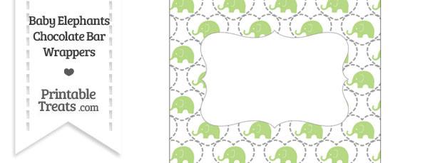 Light Green Baby Elephants Chocolate Bar Wrappers