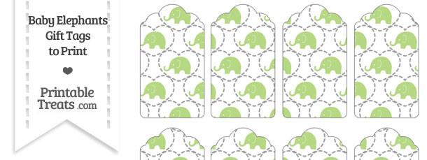 Light Green Baby Elephants Gift Tags