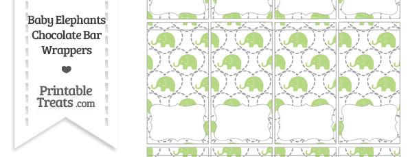 Light Green Baby Elephants Mini Chocolate Bar Wrappers