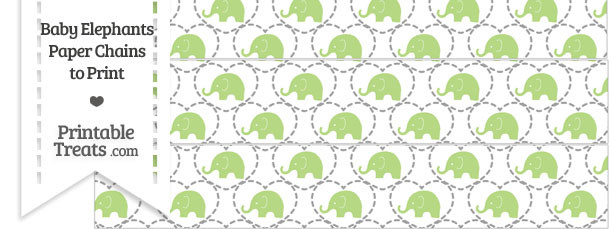 Light Green Baby Elephants Paper Chains