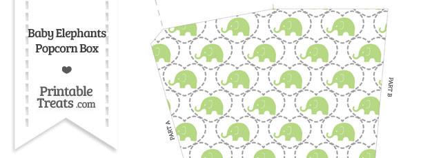 Light Green Baby Elephants Popcorn Box