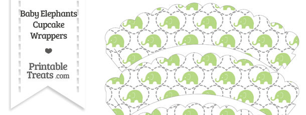 Light Green Baby Elephants Scalloped Cupcake Wrappers