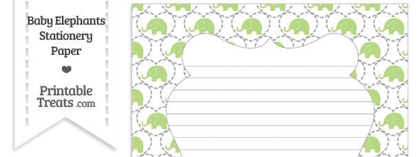 Light Green Baby Elephants Stationery Paper