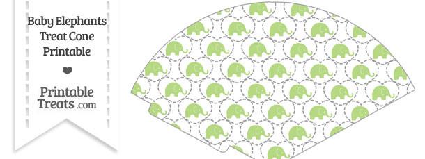 Light Green Baby Elephants Treat Cone