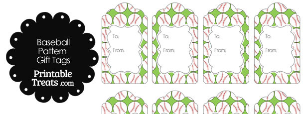 Light Green Baseball Pattern Gift Tags