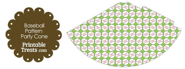 Light Green Baseball Pattern Party Cone
