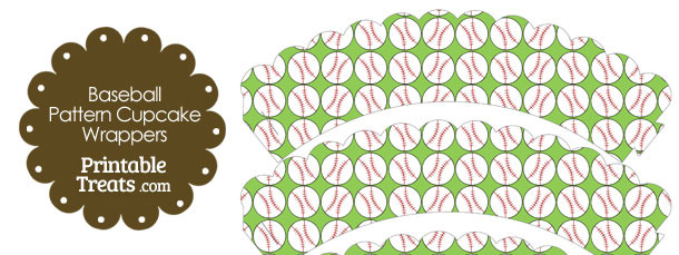Light Green Baseball Pattern Scalloped Cupcake Wrappers