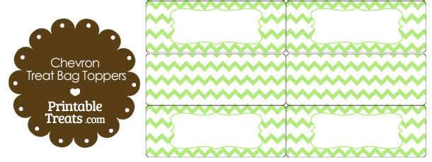 Light Green Chevron Treat Bag Toppers